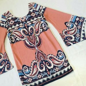 Coral Blue Paisley Large Bell Sleeve 70s Dress